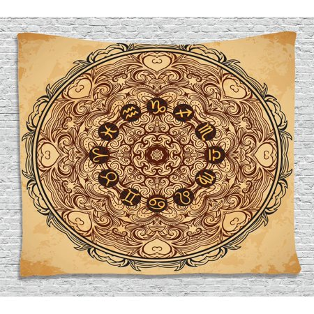 Zodiac Decor Tapestry, Micro Cosmos Universe Icon Eastern Lace Mandala Form with Signs on Grunge Back, Wall Hanging for Bedroom Living Room Dorm Decor, 60W X 40L Inches, Brown Tan, by Ambesonne