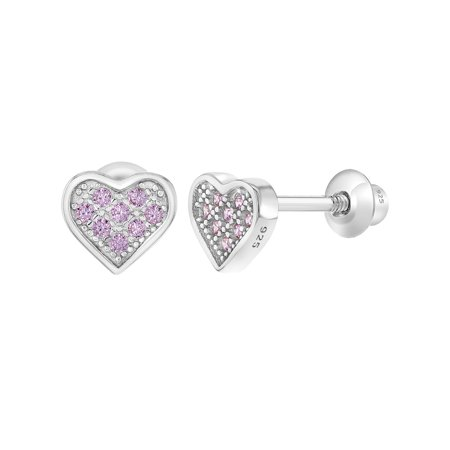 In Season Jewelry 925 Sterling Silver CZ Pave Small Heart Screw Back Earrings for Girls (Lucky Brand Pave Disk Earrings)