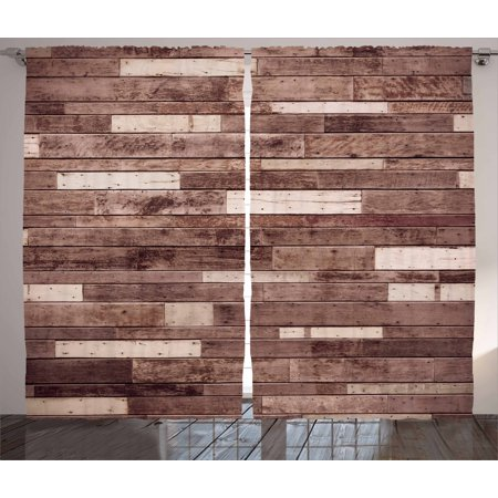 Wooden Curtains 2 Panels Set, Wall Floor Textured Planks Panels Picture Art Print Grain Cottage Lodge Hardwood Pattern, Window Drapes for Living Room Bedroom, 108W X 90L Inches, Brown, by Ambesonne