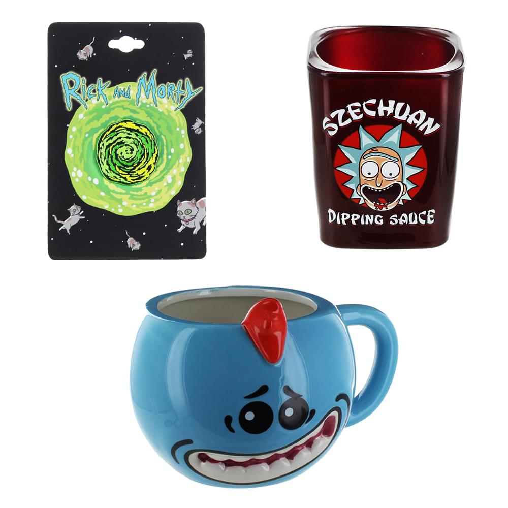 Rick and Morty Portal Pin, Mr. Meeseeks Molded Mug & Szechuan Dipping Sauce Shot Glass Bundle