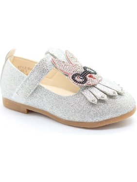 91f13b17907b98 Product Image Little Girls Silver Studded Bunny Detail T-Strap Dress Shoes
