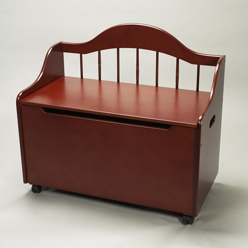Cherry Finish Wood Bench Seat Rolling Childrens Organizing Toy Chest by Gift Mark