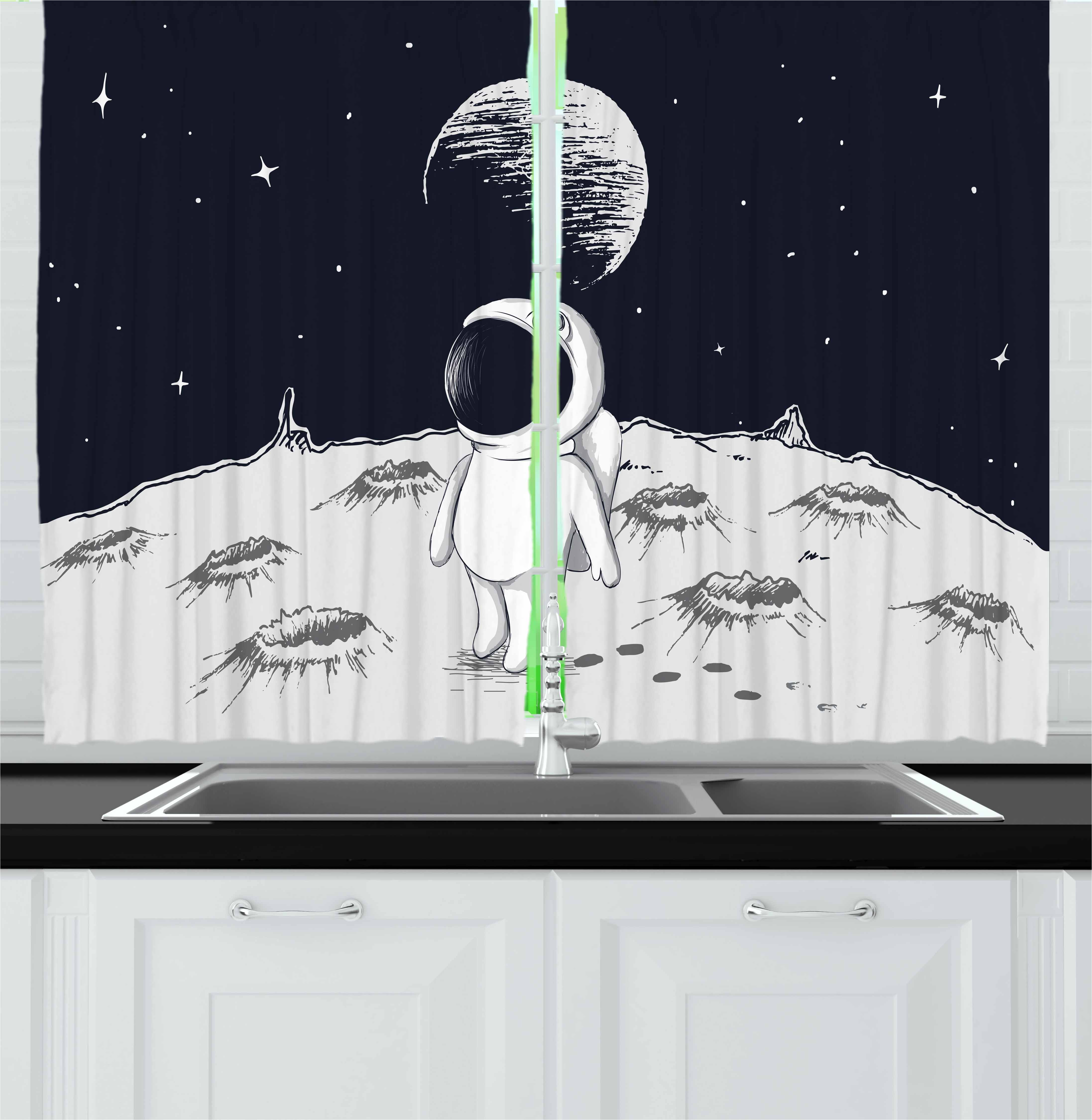 Astronaut Curtains 2 Panels Set, Cute Astronaut Walking on the Moon Space Stars Children Cartoon Hand Drawn Art, Window Drapes for Living Room Bedroom, 55W X 39L Inches, Black White, by Ambesonne