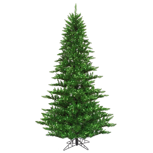 3' Pre-Lit Layered Green Tinsel Artificial Christmas Tree - Green Lights