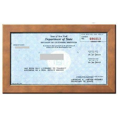 Real Estate License Certificate Wood Frame 8 5 X 5 5