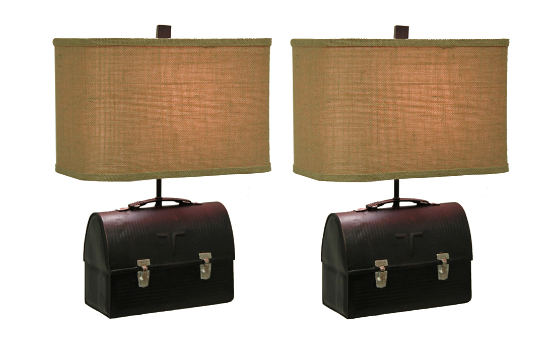 Set Of 2 Retro 50u0027s Lunch Box Table Lamps Rectangular Burlap Shades