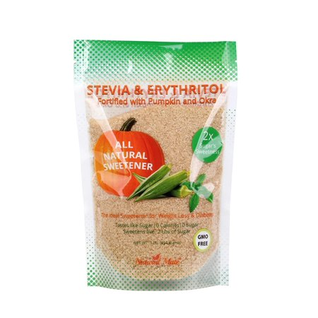 Natural Mate Granular Sweetener, Stevia and Erythritol (Fortified with Pumpkin and Okra), 1 Pound (Pack 5)