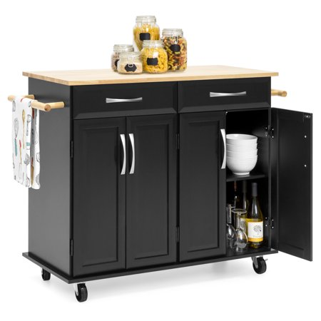Kitchen Island Shelves - Best Choice Products Portable Kitchen Island Cart w/Wood Top, 2 Towel Racks, Drawers & Cabinets w/Adjustable Shelves