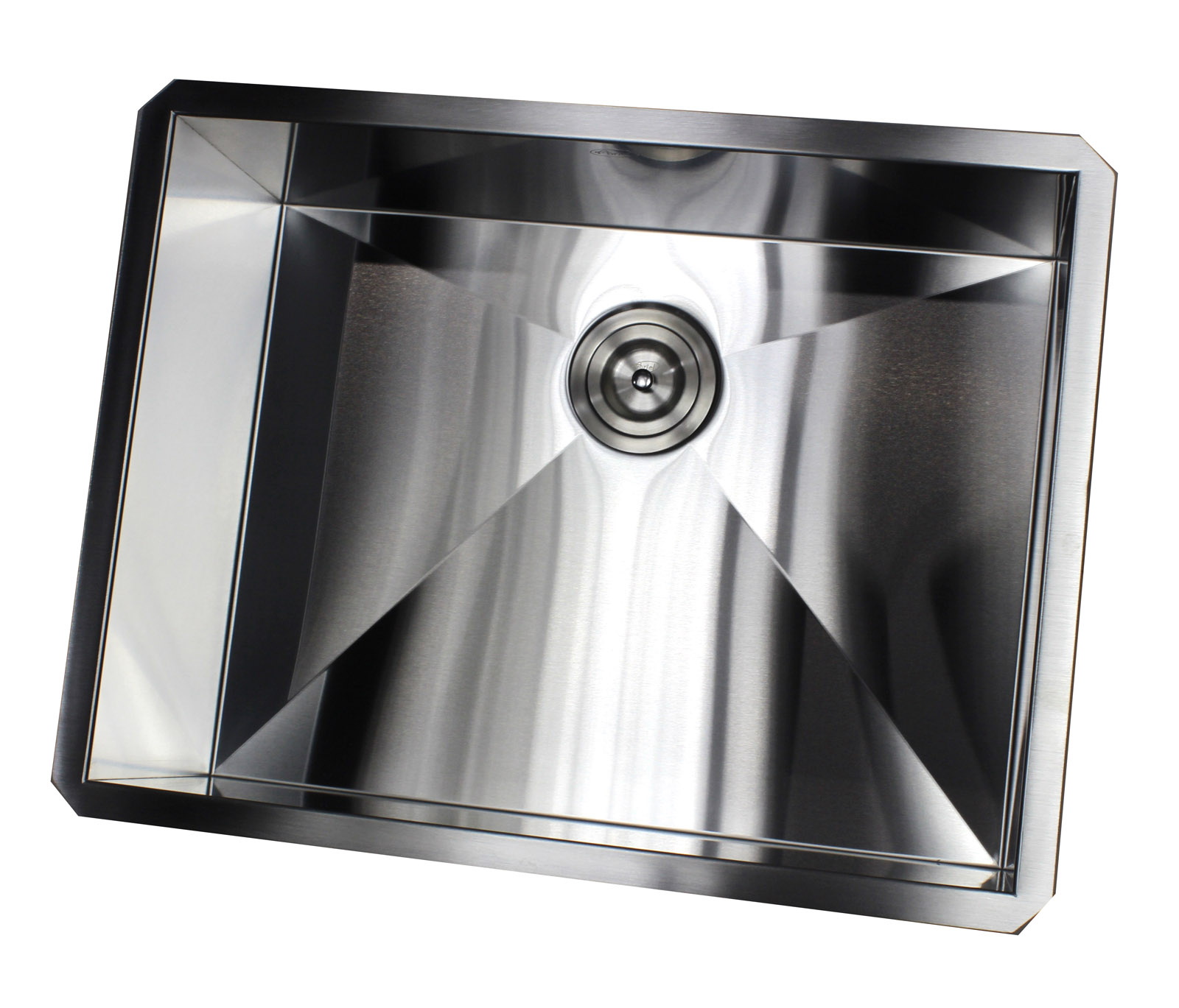 ARIEL F2620 26 Inch Zero Radius Design 16 Gauge Undermount Single Bowl Stainless Steel Kitchen Sink