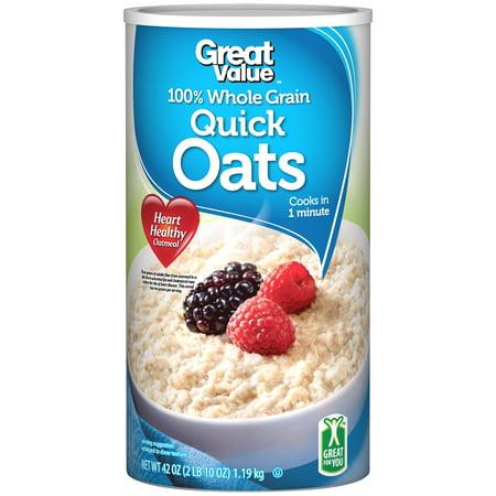 Great Value 100% Whole Grain Quick Oats, 42 oz