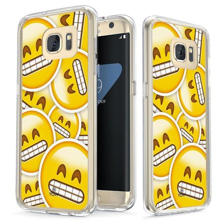 Samsung Galaxy S7 Edge Case - True Color Clear-Shield Grinning Face Emoji Printed on Clear Back - Soft and Hard Thin Shock Absorbing Dustproof Full Protection Bumper Cover