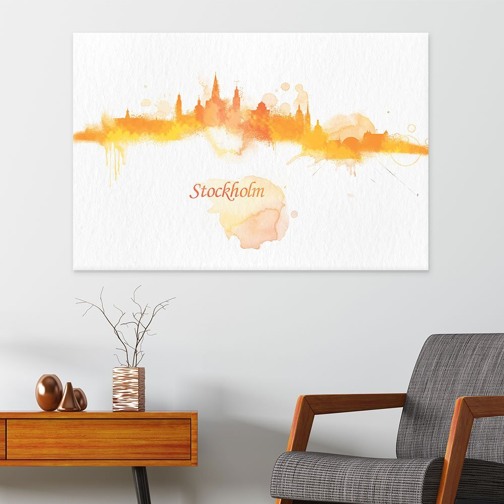 wall26 Canvas Wall Art - Impressionism Watercolor Style City Landscape of Stockholm - Giclee Print Gallery Wrap Modern Home Decor Ready to Hang - 32x48 inches