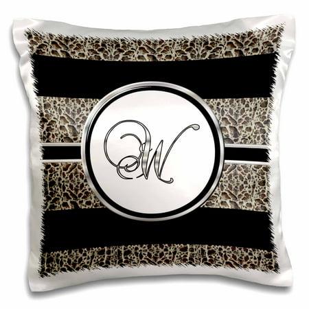 3dRose Elegant Black White Ocelot Animal Print Monogram Letter W - Pillow Case, 16 by 16-inch](Animal Print Letters)
