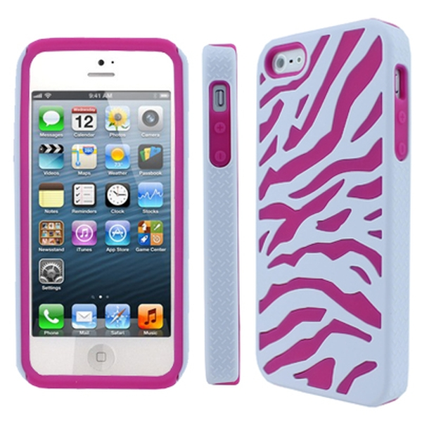 iPhone SE / 5S / 5 case, Full Protection Hybrid EMPIRE Armor Hot Pink and White Zebra Case for Apple iPhone SE / 5S / 5