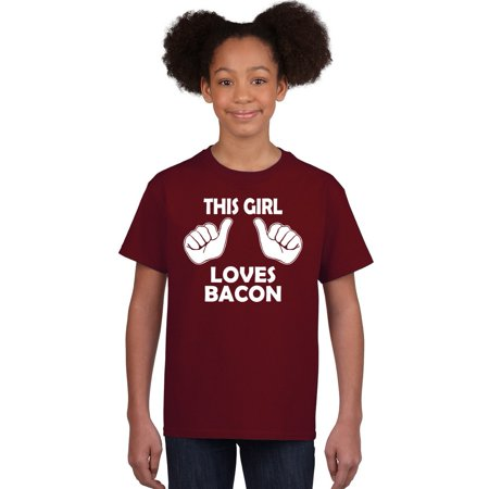 - Crazy Dog T-shirts Kids This Girl Loves Bacon T-Shirt Funny Youth Shirt For Girls