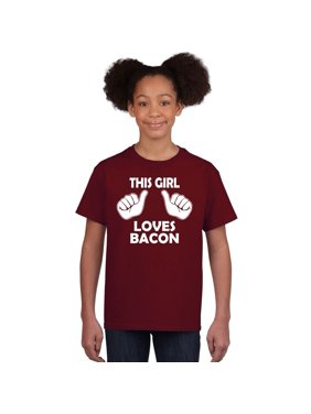 29a7f6abe Product Image Crazy Dog T-shirts Kids This Girl Loves Bacon T-Shirt Funny  Youth Shirt