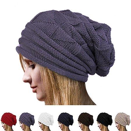 8de86915cd28a Girl12Queen - Moderna Men s Women s Winter Solid Color Knit Oversize Ski Slouchy  Cap Baggy Beanie Hat - Walmart.com