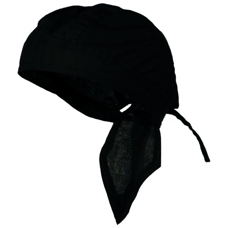 BLACK Doo Rag Durag Chemo Headwrap Solid Color Bandana Cotton Skull Cap for Men Women