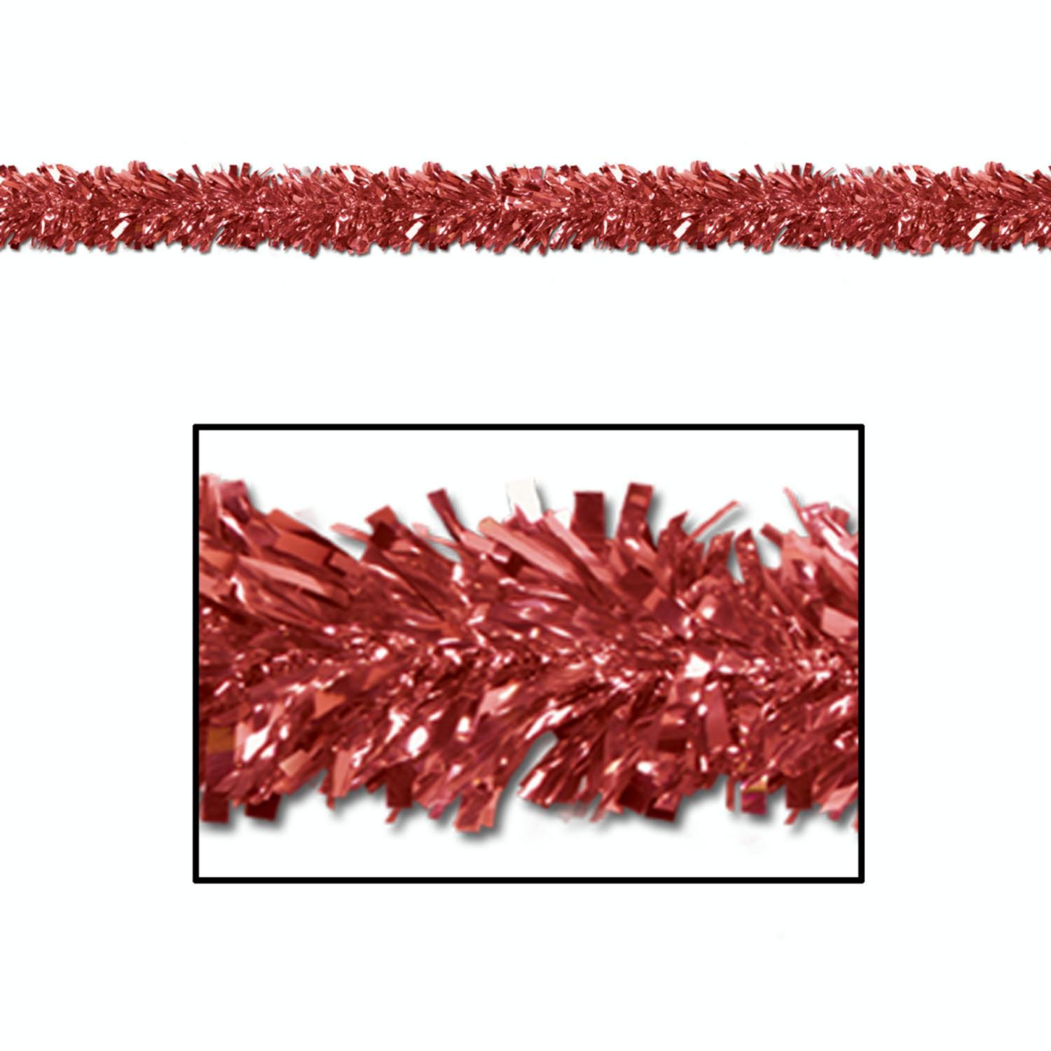 Club Pack of 12 Festive Metallic Red Foil Tinsel 6-Ply Christmas Garlands 15' - Unlit