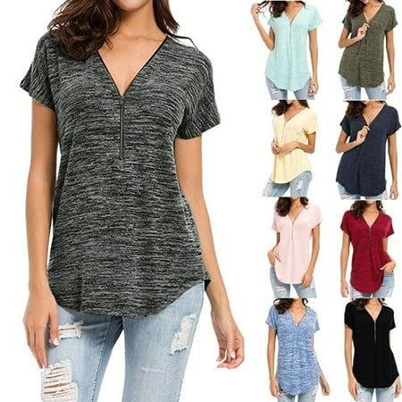 Women Casual Deep V-neck Tops Zipper Shirts Loose Cotton Shirts