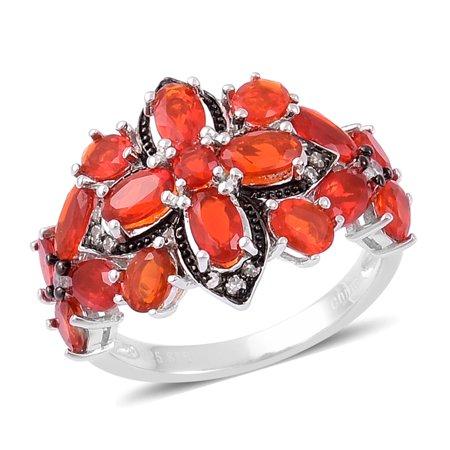 Cherry Fire Opal Zircon Cluster Ring Silver Jewelry for Women Size 7 Cttw (Cherry Opal)