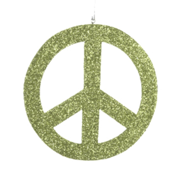 5 Flower Power Green Glittered Peace Sign Christmas Ornament