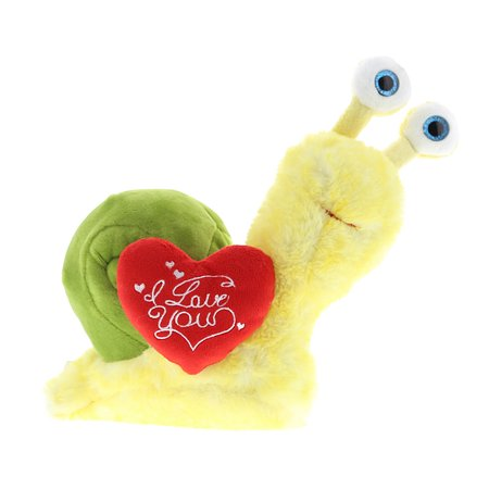 Super Soft Plush Dollibu Yellow Snail Red I Love You Valentines Plush
