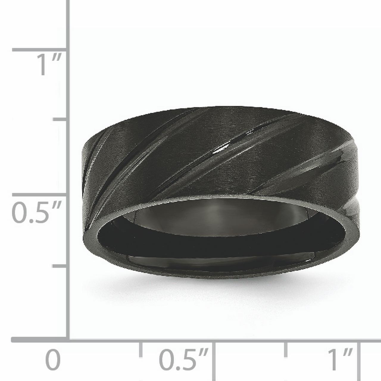 Bridal Wedding Bands Fancy Bands Titanium 6mm Black IP-plated Swirl Brushed and Polished Band Size 8