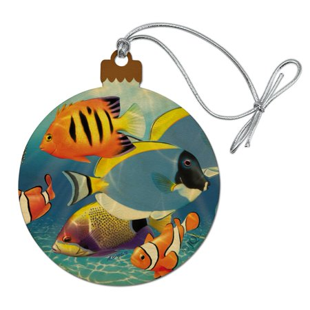 Tropical Coral Reef Fish Clown Wood Christmas Tree Holiday Ornament
