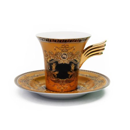 - Royalty Porcelain 3-pc Yellow Luxury Tea or Coffee Cup SET, Greek Key Medusa
