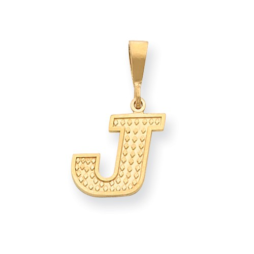 14k Yellow Gold Initial J Charm Pendant