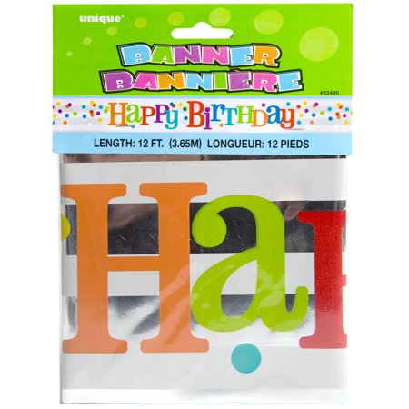 Foil Dotted Rainbow Happy Birthday Banner, 12 ft, 1ct](Happy 25th Birthday Banners)