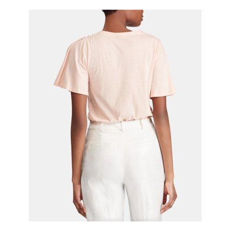 RALPH LAUREN Womens Pink Pinstripe Crew Neck T-Shirt Top Size XL