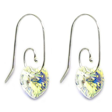 Sterling Silver Swirl Hook  Swarovski Elements Crystal Clear Aurora Borealis Heart  Drop Earrings