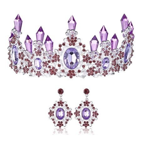 LuckyFine Handmade Luxury Crystal Wedding Crown with Earrings Set Bridal Hair Accessories Tiara White Purple Headband for Women and - Crown Headband