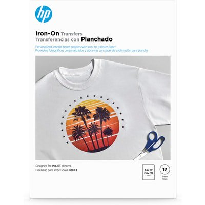 HP Iron-on Transfers | 12 sht/Letter | 8.5 x 11 in | (Silhouette Printable Heat Transfer For Dark Fabrics)