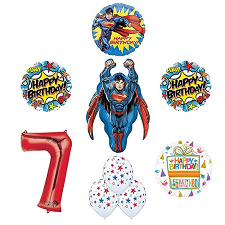 Superman 7th Birthday Party Supplies and Balloon Decorations - Superman Party Decorations