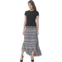b0a724e1de Product Image Deep Blue Womens Black White Tribal Print Ruffle Hi-Low Cover- Up Skirt