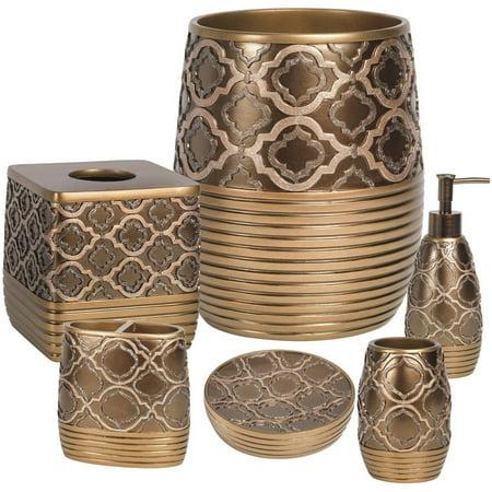 Popular Bath Spindle Gold Collection 6 Piece Bathroom Accessory Set Walmart Com Walmart Com