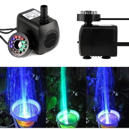Submersible Pump Aquarium Pond Fountain Tank Water With 12 Color LED Light