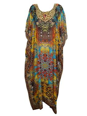 fc7ee42842f79 Product Image Mogul Sexy Colorful Jewel Print Maxi Kimono Caftan ROUND NECK  Beach Cover Up KAFTAN One Size
