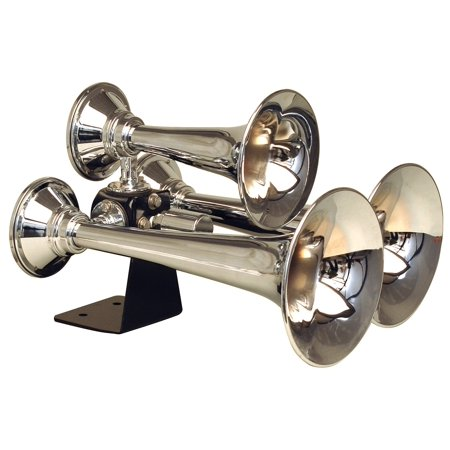 - Kleinn Air Horns 501 ABS Triple Air Horn; 3 Chrome Plated Copper Trumpets; 16 in./14 in./11 in. L; Vortex 4 12V Elect. Solenoid; 152.2 dB Max. Output;