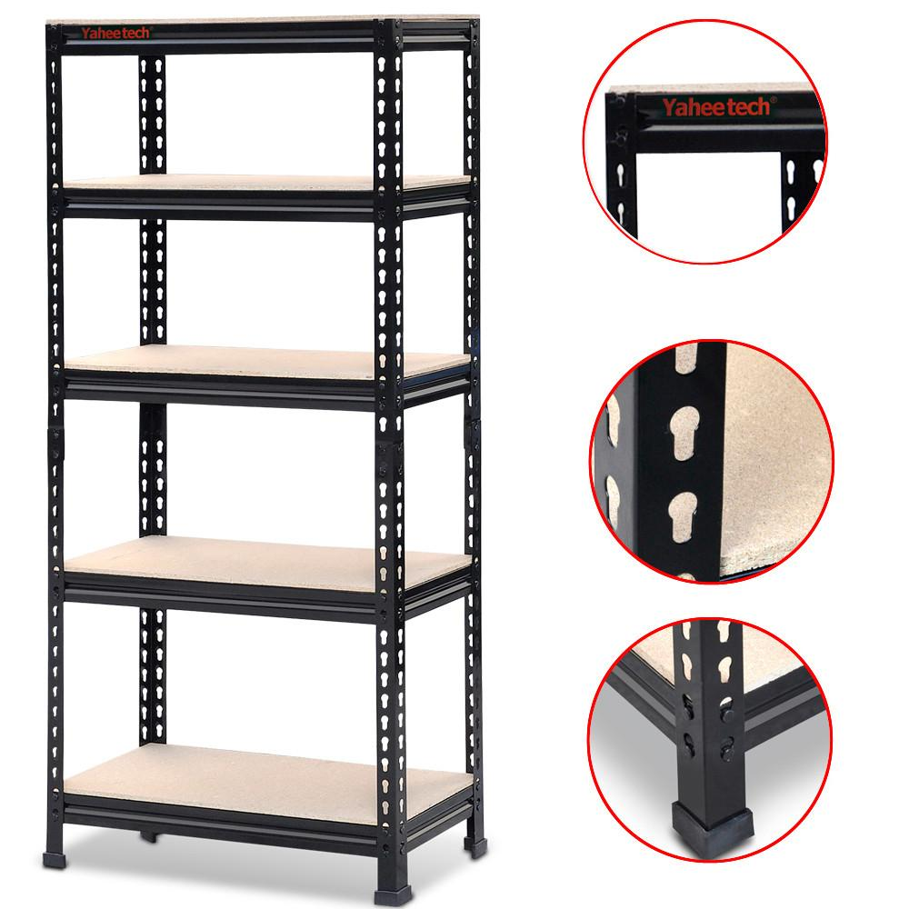 "Adjustable 5-Shelf Shelving Unit Storage Rack Utility Rack Garage Shelves Display Rack Steel Boltless Rivet Rack,59""Heightx 28""Width x 12"" Depth(3 Pack)"