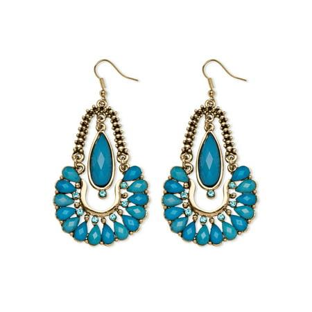 Aqua Crystal Chandelier Earrings in Yellow Gold Tone