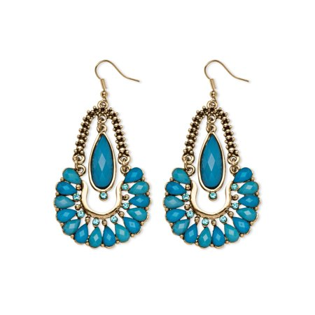 - Aqua Crystal Chandelier Earrings in Yellow Gold Tone