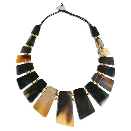 Natural Buffalo Horn Boho Tribal Fan Bib Collar Statement Necklace For Woman Gold Plated Ball Spacer