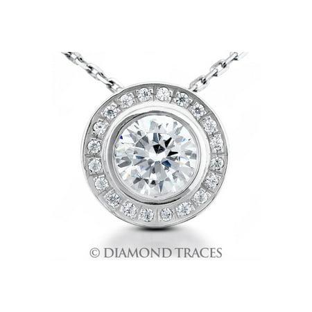0.50ct G-SI2 VG Round AGI Genuine Diamonds 14K Bezel Setting Halo Pendant 11.3mm