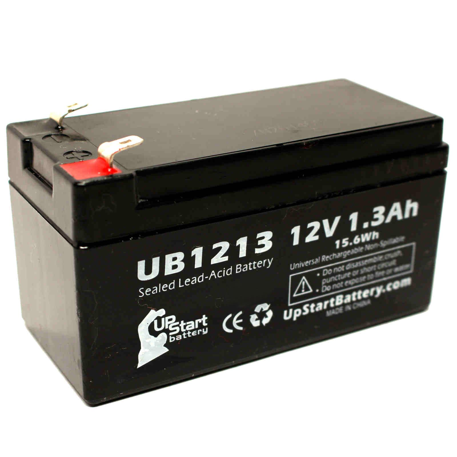 2x Pack - Zeus PC1.3-12 Battery Replacement - UB1213 Universal Sealed Lead Acid Battery (12V, 1.3Ah, 1300mAh, F1 Terminal, AGM, SLA) - Includes 4 F1 to F2 Terminal Adapters - image 1 of 4