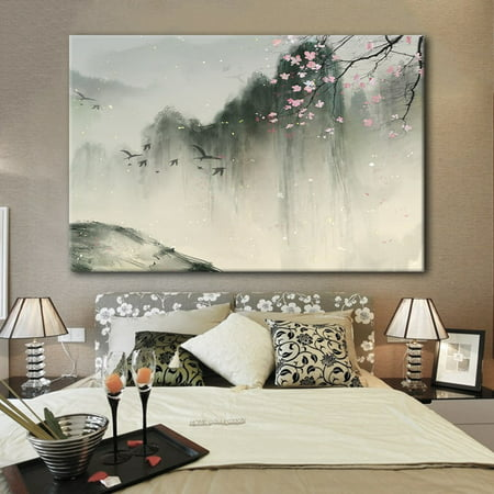 wall26 Canvas Wall Art - Chinese Ink Painting of Mountain Landscape in Spring with Birds and Cherry Blossom - Giclee Print Gallery Wrap Modern Home Decor Ready to Hang - 12x18 inches - Giclee Cherry Blossoms
