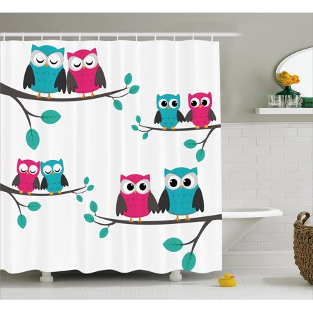 Nursery Shower Curtain, Couples of Owls Sitting on Spring Branches Cute Funny Cartoon Characters, Fabric Bathroom Set with Hooks, 69W X 75L Inches Long, Turquoise Blue Pink, by Ambesonne